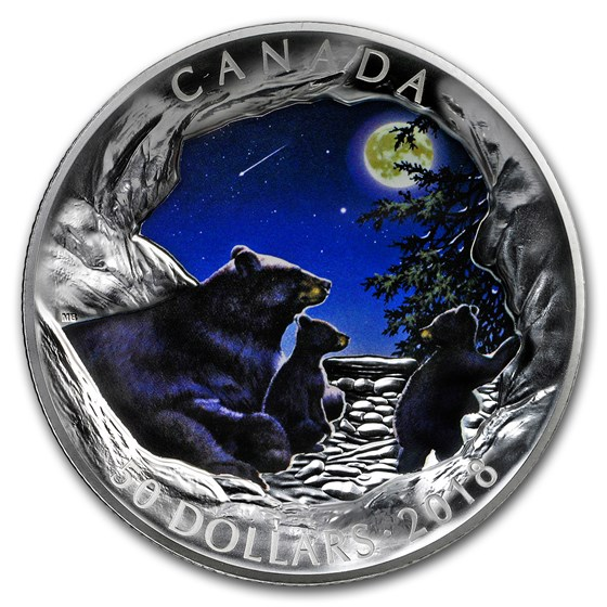 2018 Canada 5 oz Silver Nature's Light Show: Moonlit Tranquility