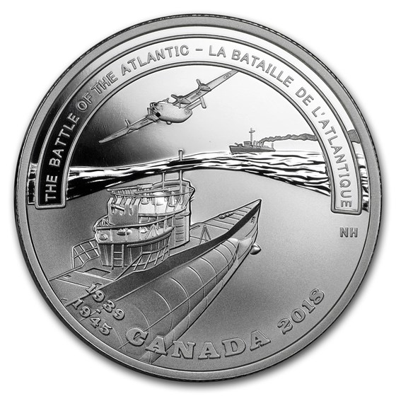 2018 Canada Ag $20 WWII Battlefront Series Battle of the Atlantic