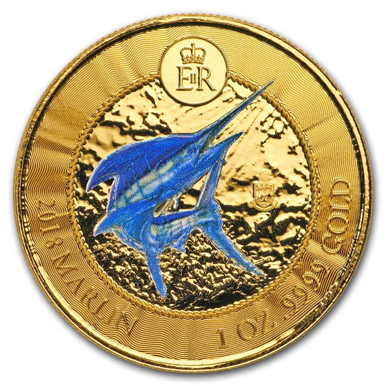 2018 Cayman Islands 1 oz Gold Marlin Proof (Colorized)