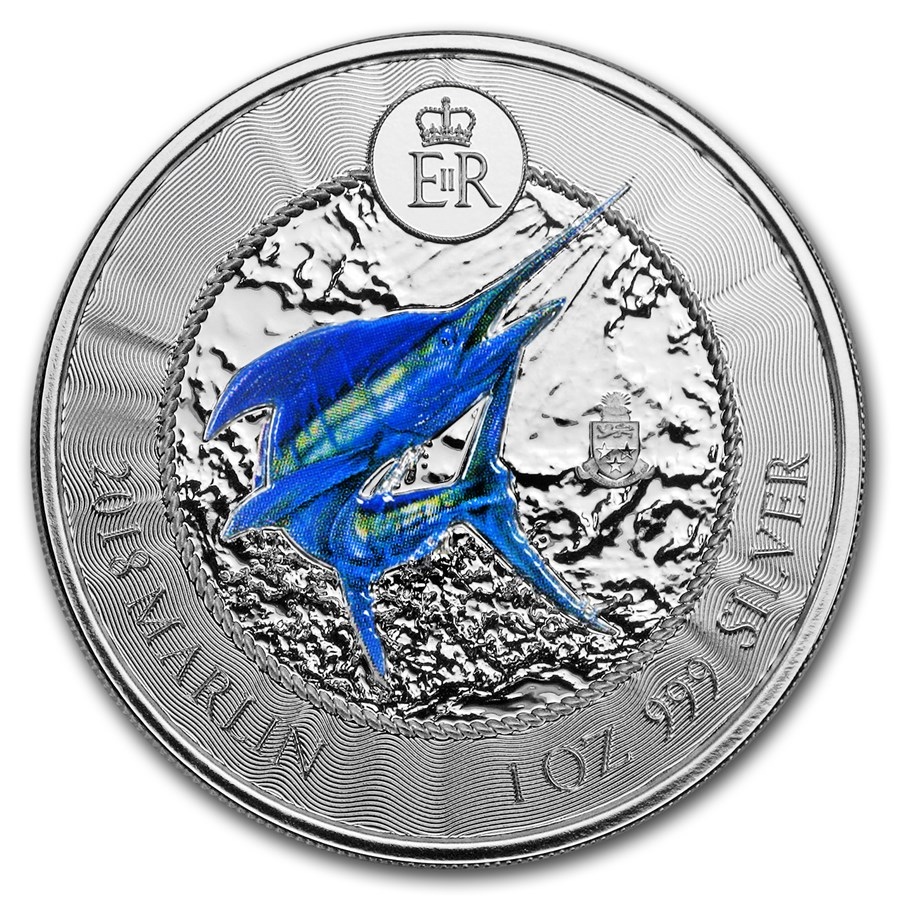 2018 Cayman Islands 1 oz Silver Marlin Proof (Colorized)