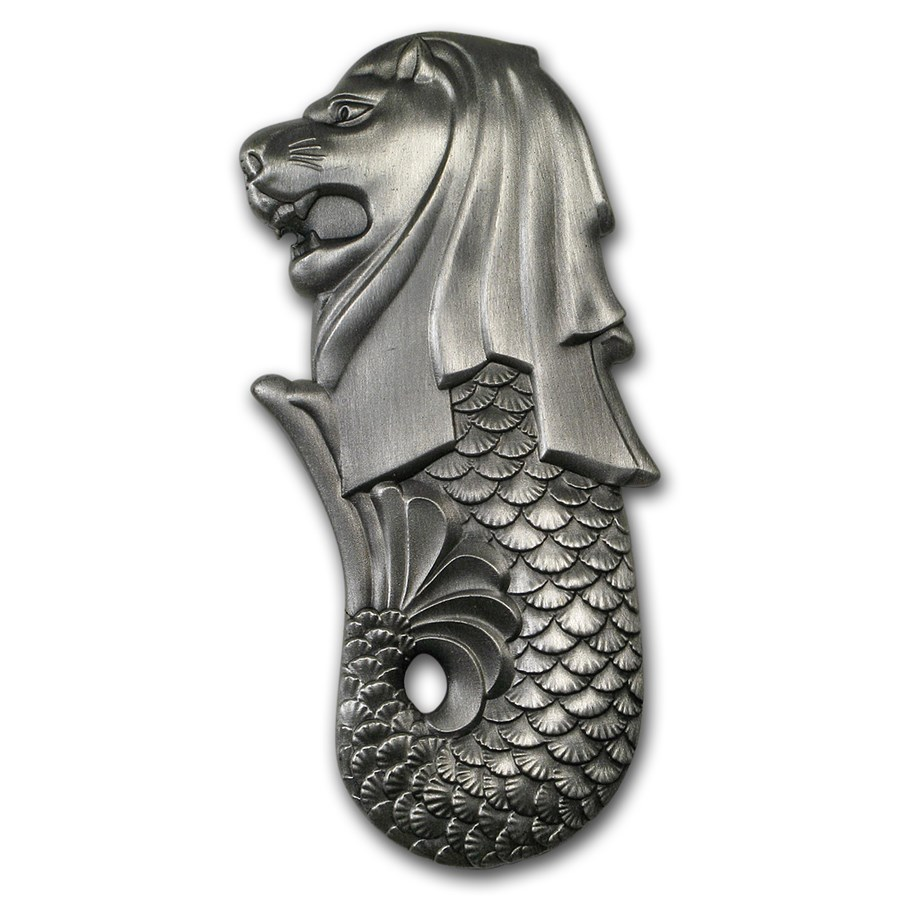2018 Chad 2 oz Silver Antique The Singapore Merlion