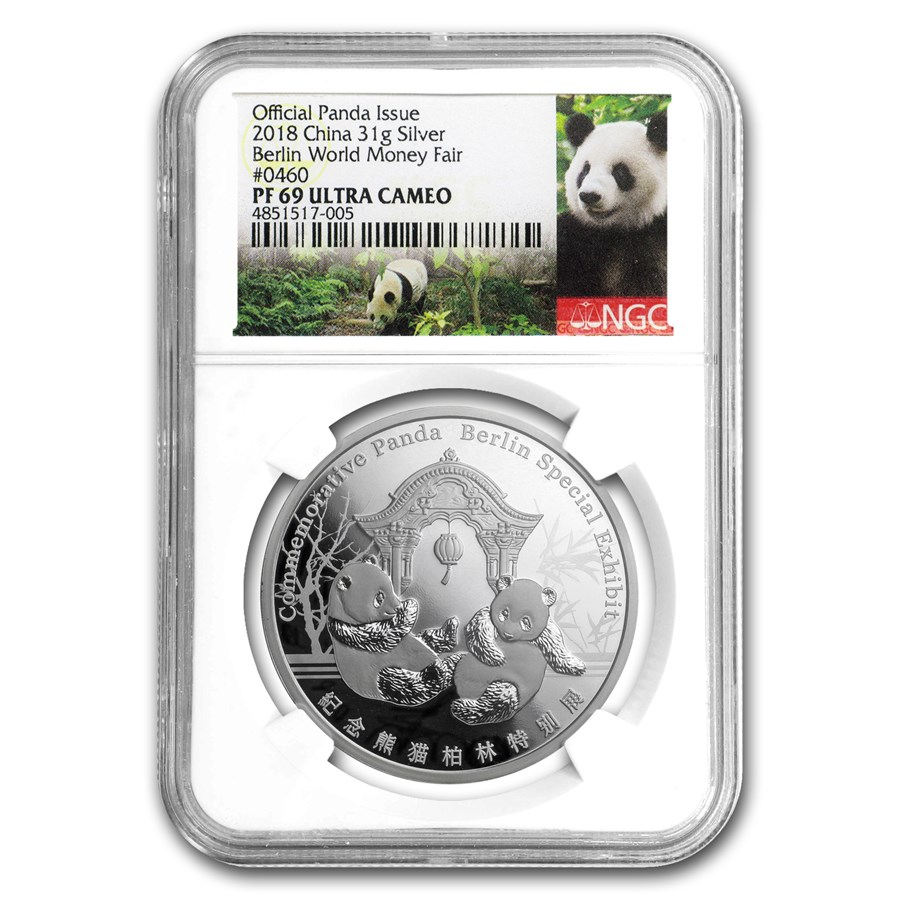 2018 China 1 oz Silver Panda Berlin Money Fair PF-69 NGC