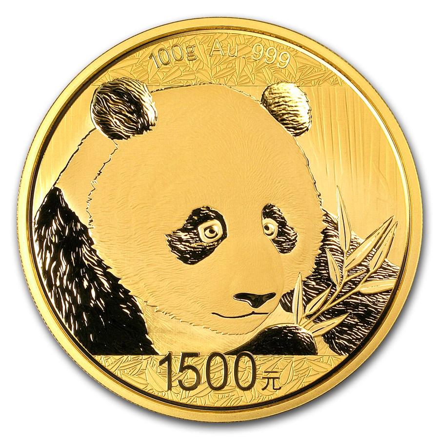 2018 China 100 gram Gold Panda Proof (w/Box & COA)