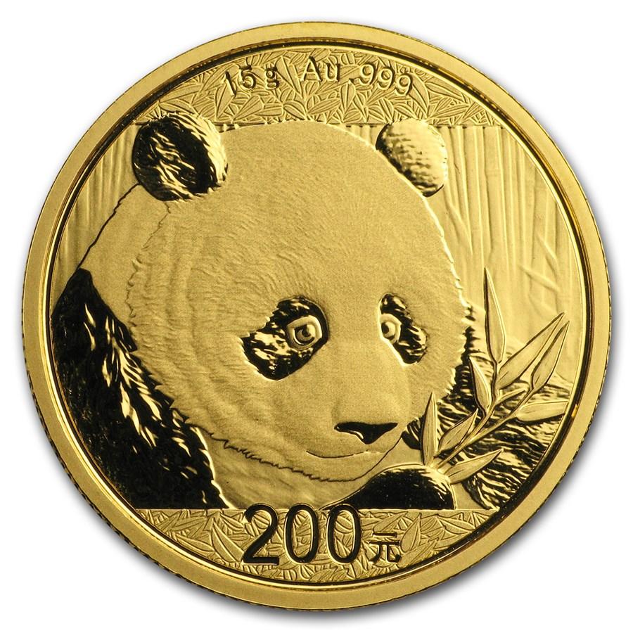 2018 China 15 gram Gold Panda BU (Sealed)