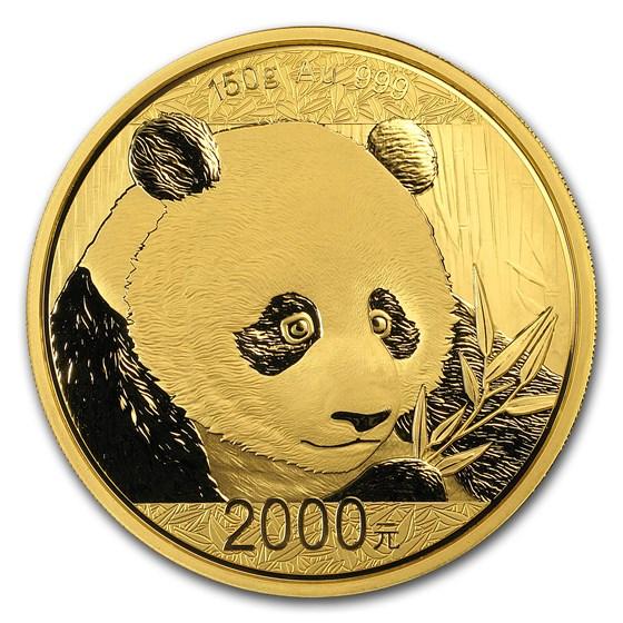 2018 China 150 gram Gold Panda Proof (w/Box & COA)