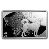 2018 China 150 gram Silver Dog Rectangle (w/Box & COA)
