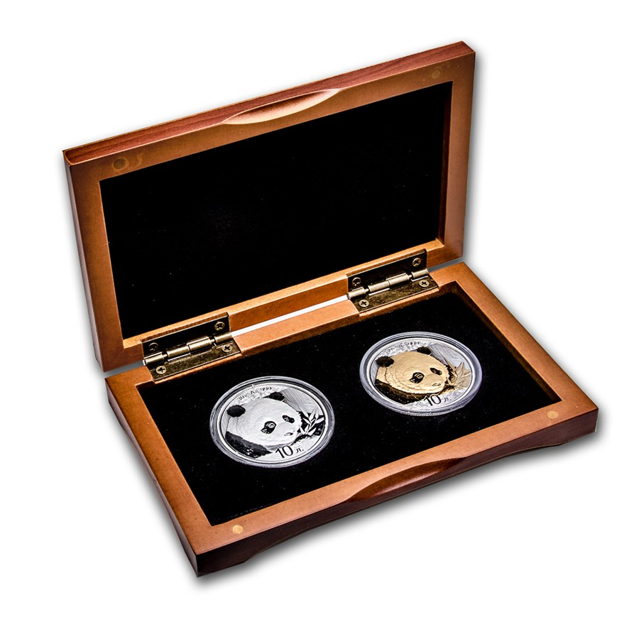 2018 China 2-Coin 30 g Silver Panda & Gilded Silver Panda Set BU