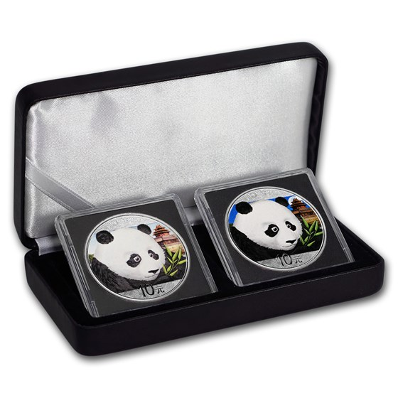 2018 China 2-Coin 30 gram Silver Colorized Panda Day/Night Set