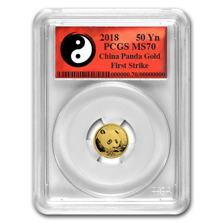 2018 China 3 Gram Gold Panda MS-70 PCGS (FS, Yin-Yang)