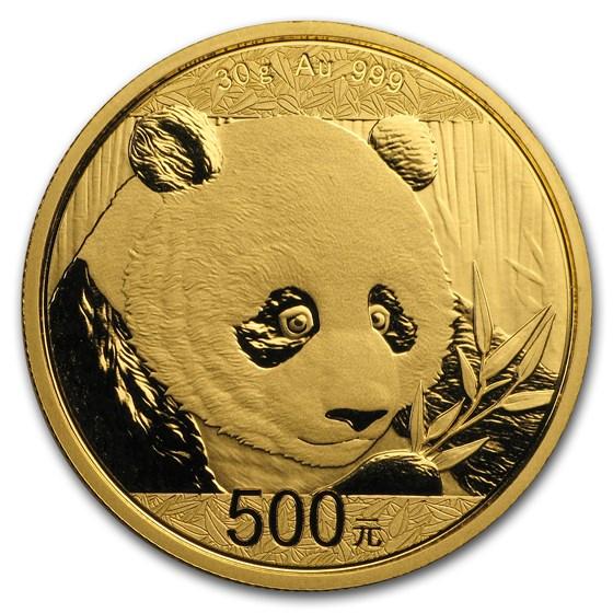 2018 China 30 gram Gold Panda BU (Sealed)