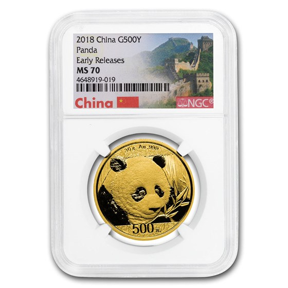 2018 China 30 Gram Gold Panda MS-70 NGC (Early Releases)