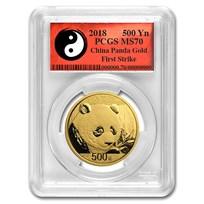 2018 China 30 Gram Gold Panda MS-70 PCGS (FS, Yin-Yang)