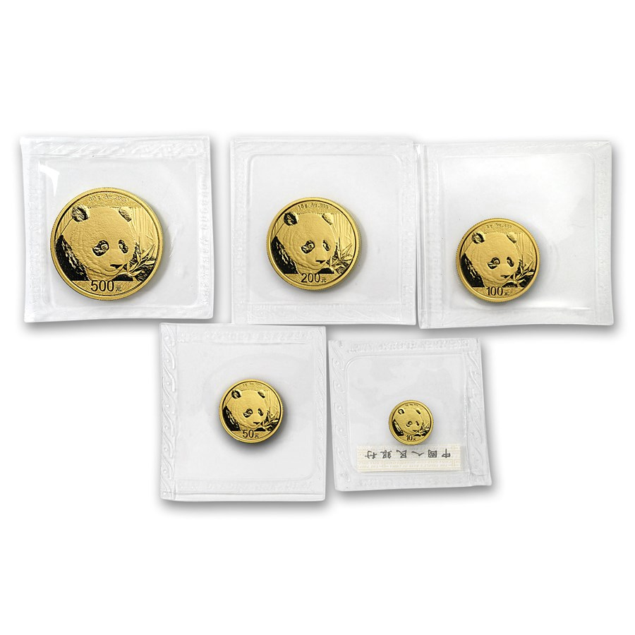 2018 China 5-Coin Gold Panda Set BU (Sealed)