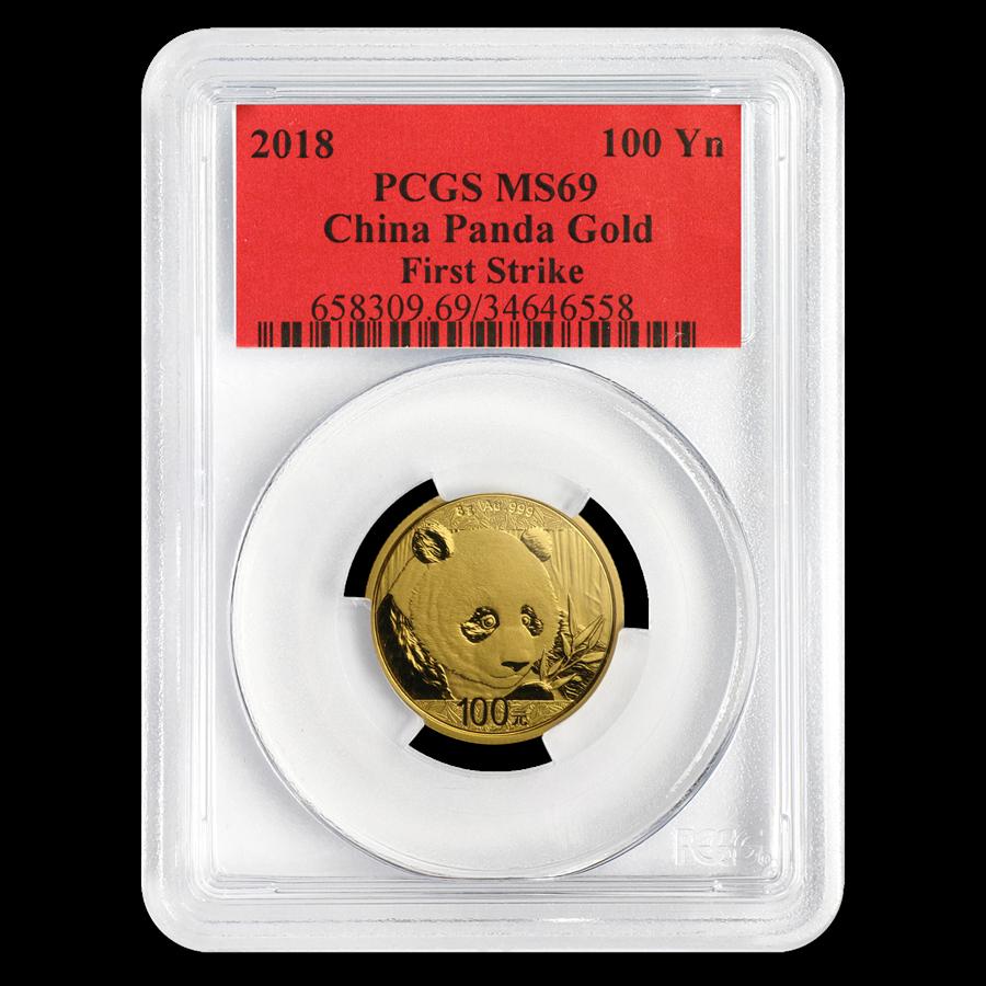 2018 China 8 Gram Gold Panda MS-69 PCGS (FS)