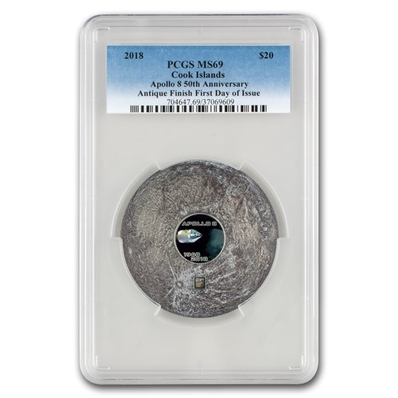 2018 Cook Island 3 oz Meteorites The Moon Apollo 8 MS-69 PCGS