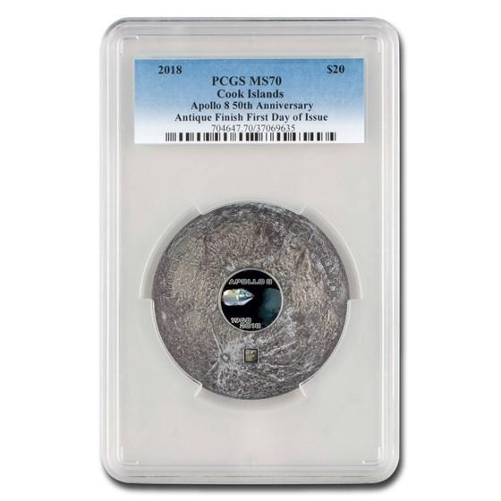 2018 Cook Island 3 oz Meteorites The Moon Apollo 8 MS-70 PCGS