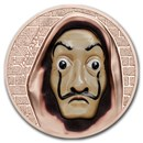 2018 Cook Islands 1 oz Silver $5 Salvatore Dali Money Heist Masks
