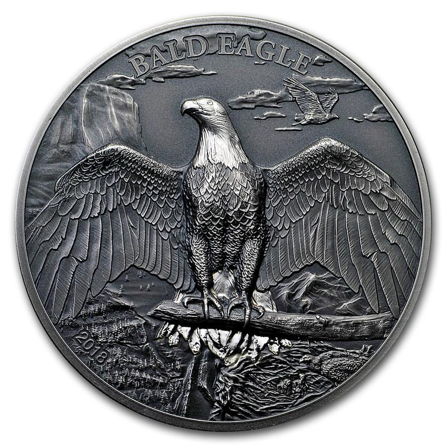 2018 Cook Islands 1 oz Silver High Relief Animals (Bald Eagle)