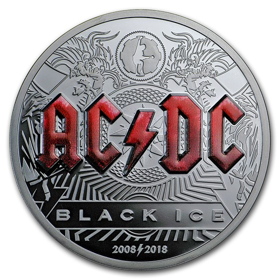 2018 Cook Islands 2 oz Silver AC/DC Black Ice Proof