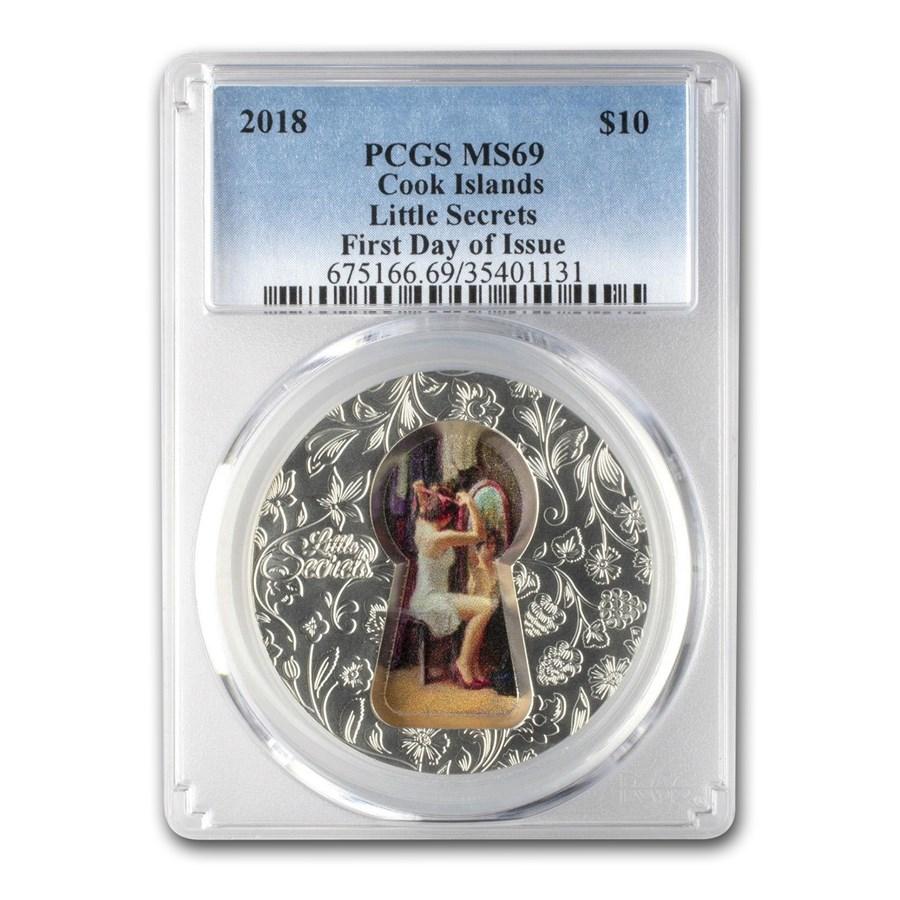 2018 Cook Islands 2 oz Silver Little Secrets Key Hole MS-69 PCGS