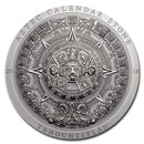 2018 Cook Islands 3 oz Silver Antique Aztec Calendar Stone