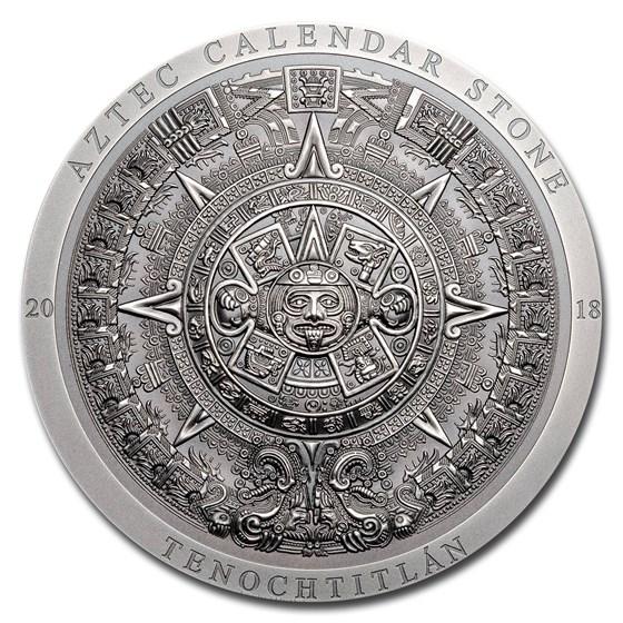 2018 Cook Islands 3 oz Silver Antique Aztec Calendar Stone
