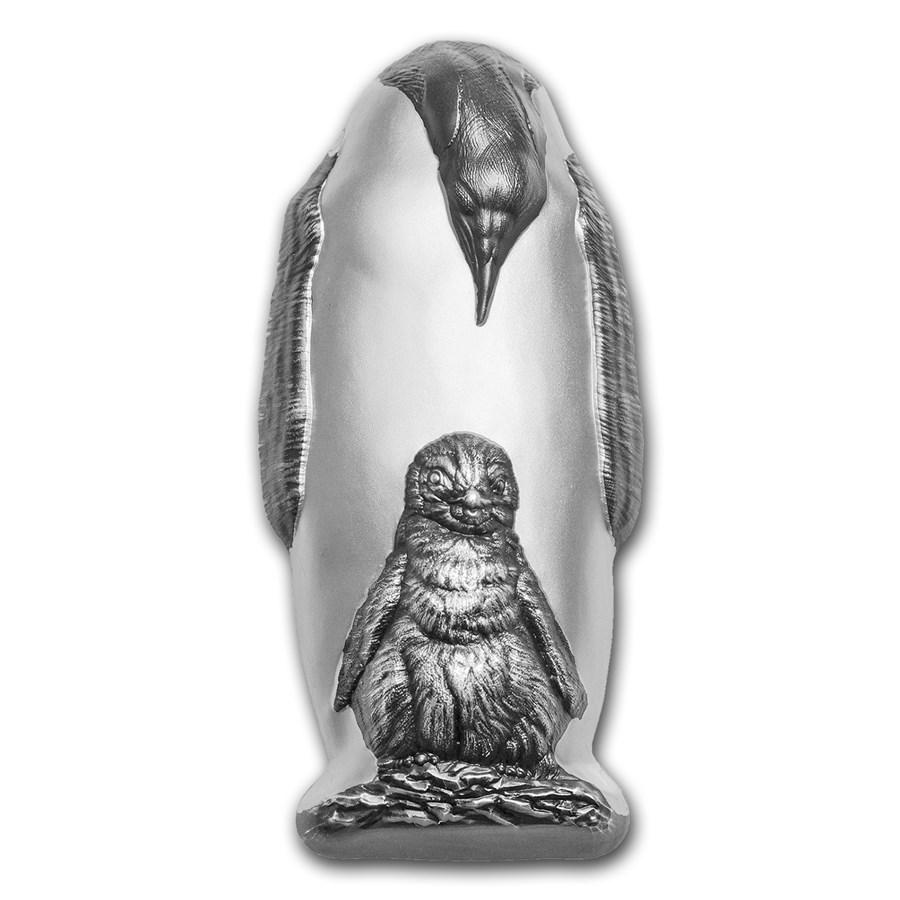 2018 Cook Islands 88 gram Silver Antique Finish Emperor Penguin