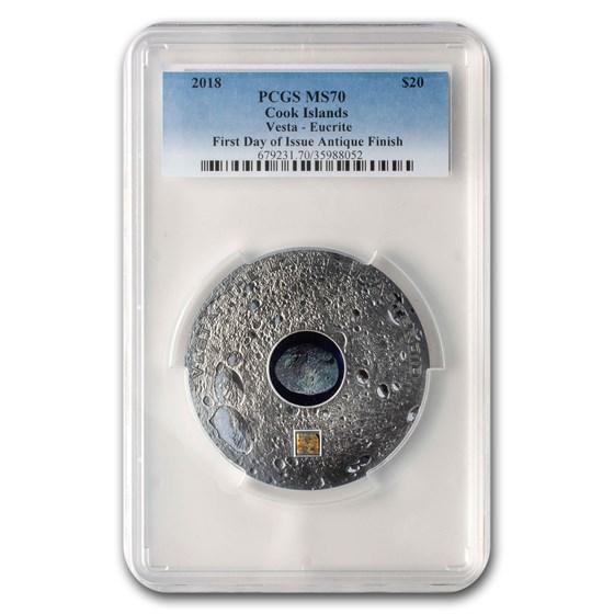2018 Cook Islands Silver Meteorites Vesta: Eucrite MS-70 PCGS