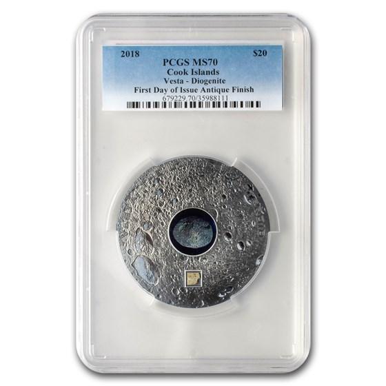 2018 Cook Islands Silver Meteorites Vesta MS-70 PCGS (1st Day)
