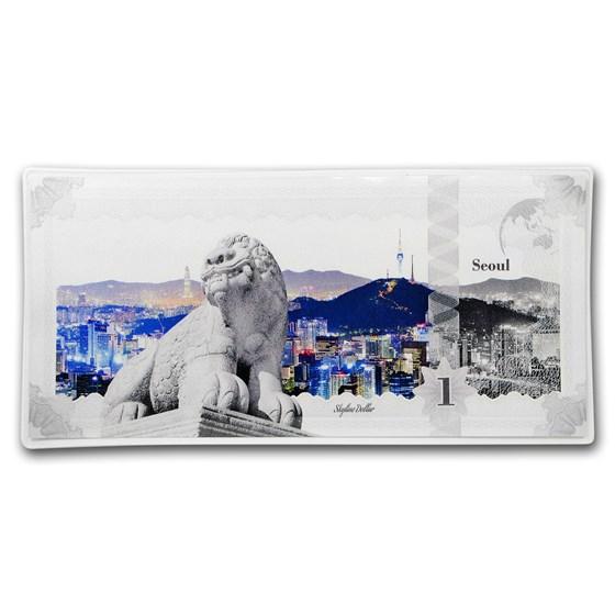 2018 Cook Islands Skyline Dollars Foil Silver Note Seoul