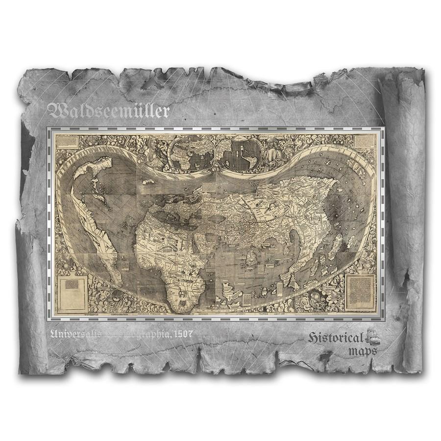 2018 Cook Islands Waldseemuller Historical Maps Foil Silver Note