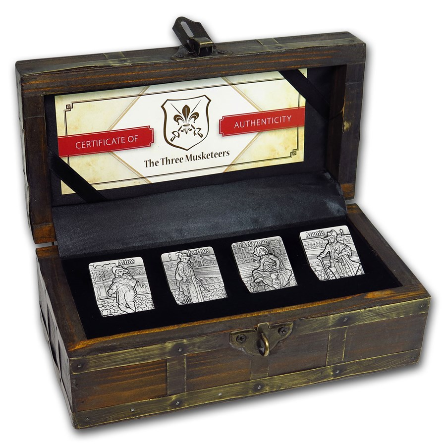 2018 Djibouti Silver Three Musketeers Antique Finish 4-coin Set