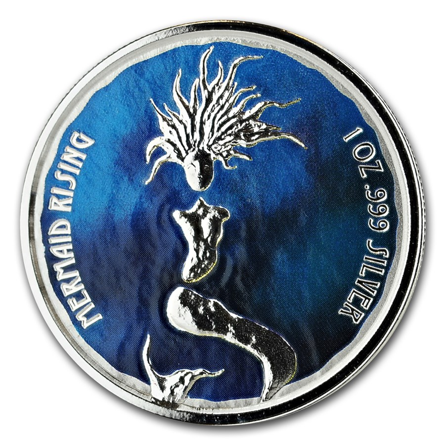 2018 Fiji 1 oz Silver Mermaid Rising Proof (Colorized)