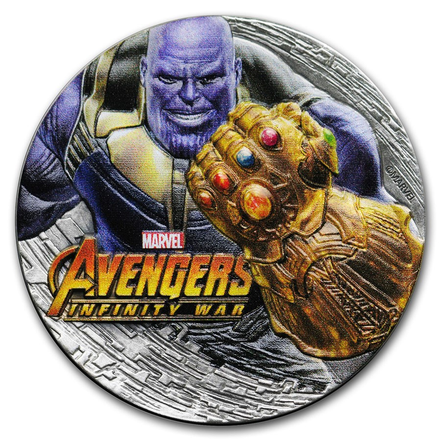 2018 Fiji 2 oz Silver Avengers Infinity War Thanos (Antiqued)