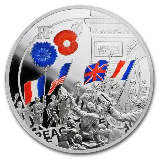 2018 France Silver €10 Great War Colorized (Peoples' Jubilation)