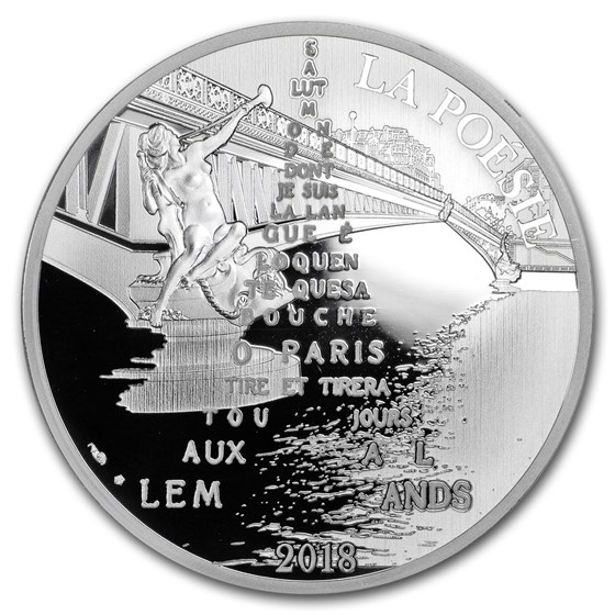 2018 France Silver €10 The 7 Arts (Apollinaire)
