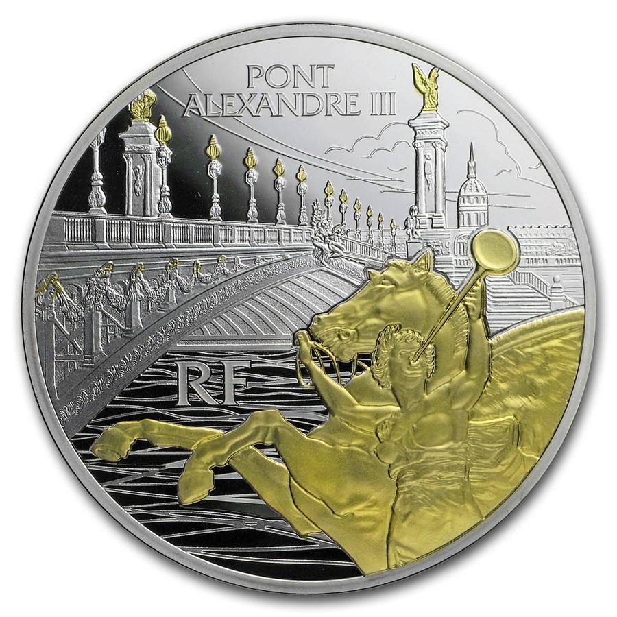2018 France Silver €10 Treasures of Paris Alexander III Bridge
