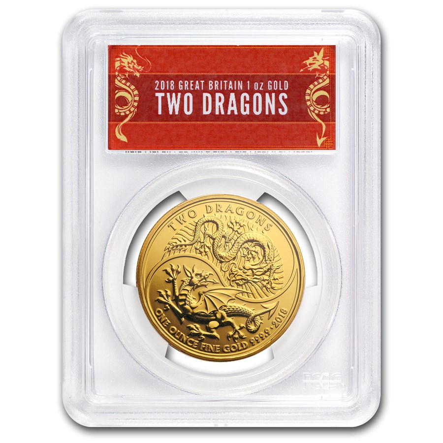 2018 GB 1 oz Gold Two Dragons MS-69 PCGS (FS, Dragon Label)