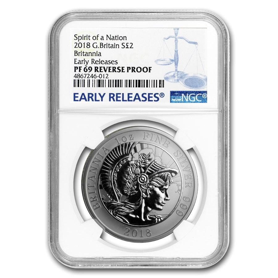 2018 GB 1 oz Reverse Proof Silver Britannia PF-69 NGC (ER)