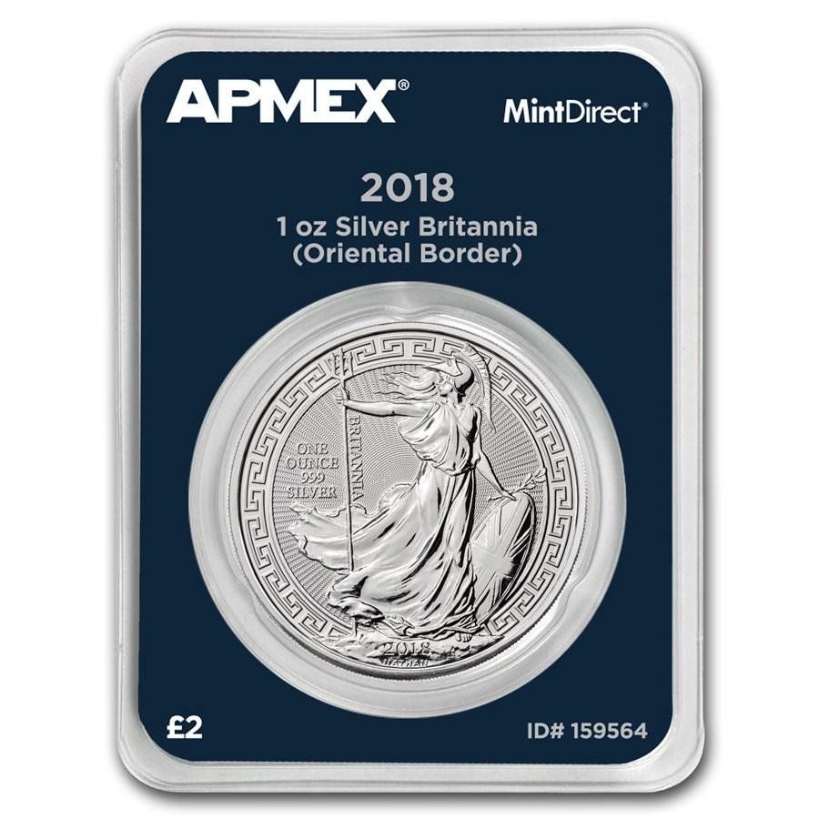 2018 GB 1 oz Silver Britannia Oriental Border (MintDirect®)