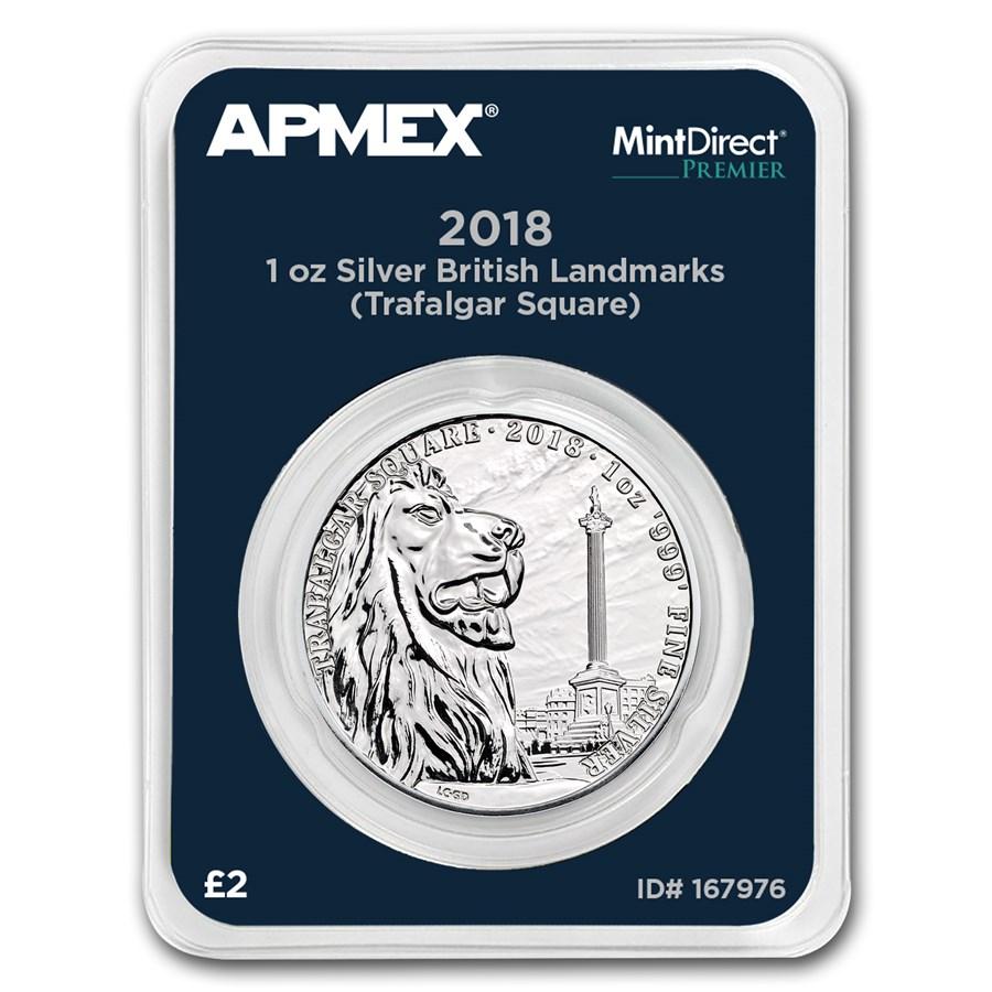 2018 GB 1 oz Silver Landmarks Trafalgar Square (MD® Premier)