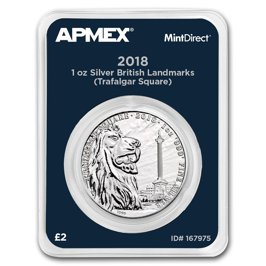2018 GB 1 oz Silver Landmarks Trafalgar Square (MintDirect®)
