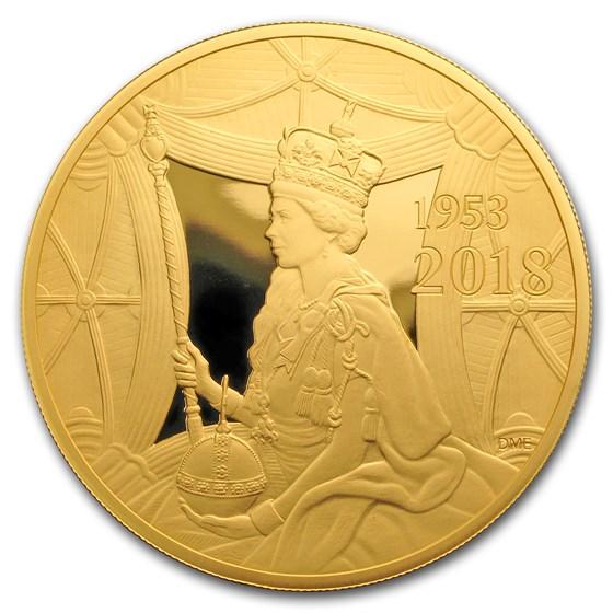 2018 GB £10 Proof 5 oz Gold Queen's Sapphire Coronation
