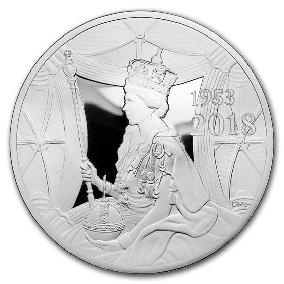 2018 GB £10 Proof 5 oz Silver Queen's Sapphire Coronation