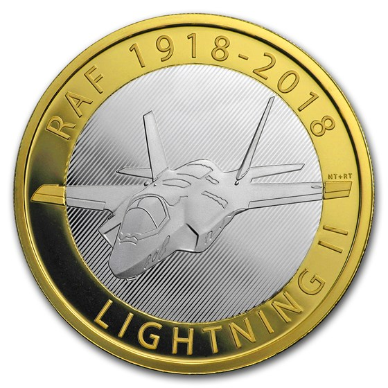 2018 GB £2 Proof Silver Royal Air Force Piedfort (Lightning II)