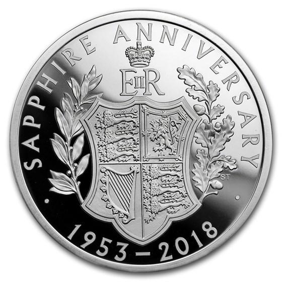 2018 GB £5 Proof Silver Queen's Sapphire Coronation Piedfort