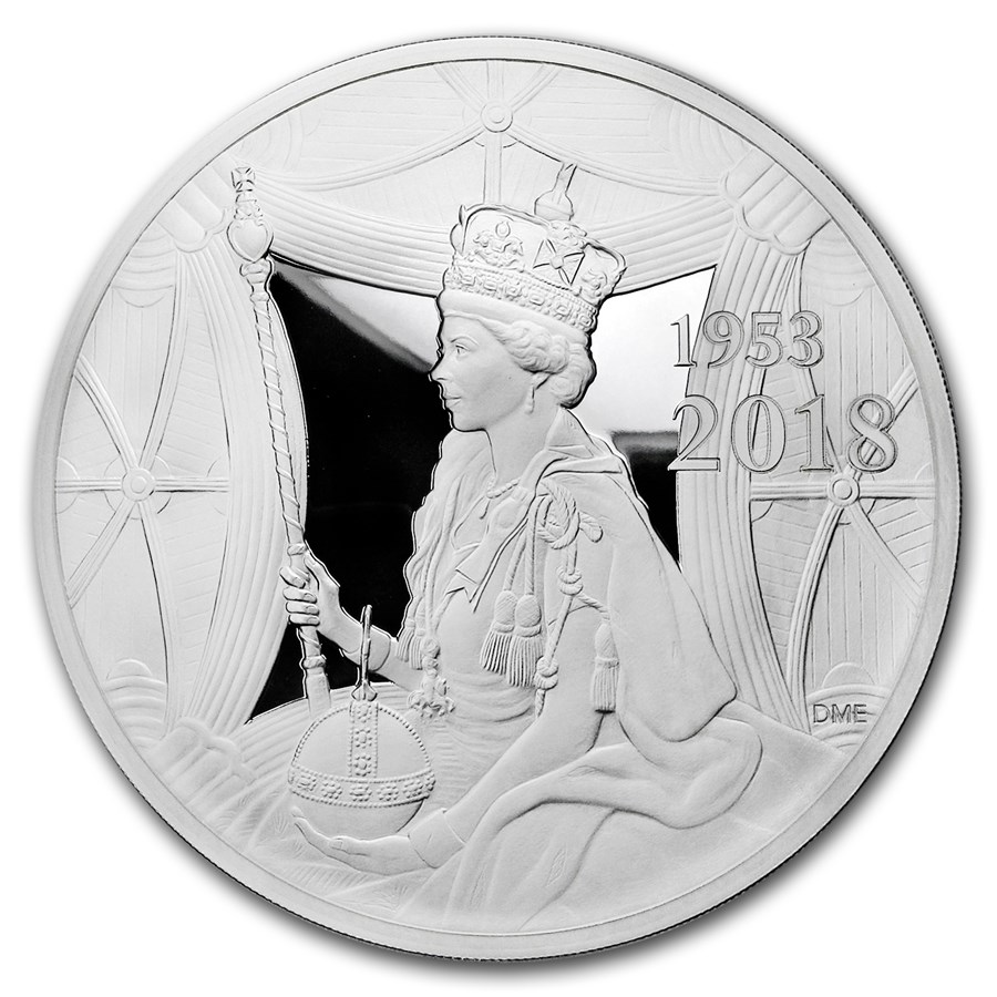 2018 GB £500 Proof Kilo Silver Queen's Sapphire Coronation