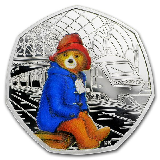 2018 GB 50p Silver 60th Anniv Paddington Bear (Train Station)