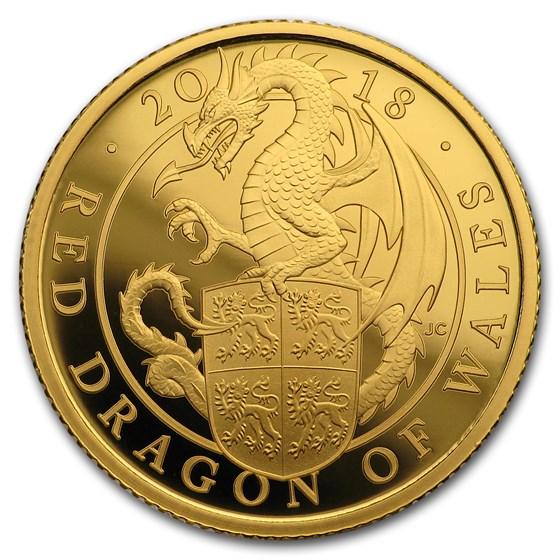 2018 GB Proof 1/4 oz Gold Queen's Beasts Dragon (w/Box & COA)