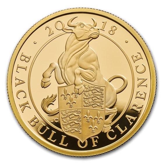 2018 GB Proof 1 oz Gold Queen's Beasts Bull (w/Box & COA)